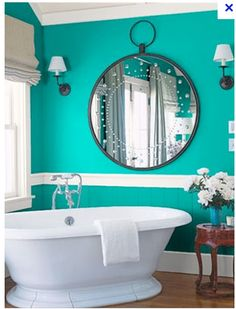 Superieur Turquoise Bathroom With Slipper Tub And Oversized Pocketwatch Style Mirror  Aqua Bathroom, Colors For