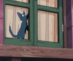 Kiki's Delivery Service Cat, Kiki Delivery, Studio Ghibli Art, Studio Ghibli Movies, Gato Gif, Animation, Hayao Miyazaki, Anime Scenery, Totoro