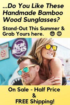 137cd0b458 REAL 100% Handmade Wooden Bamboo Sunglasses + FREE Case ( 6.99 Value)