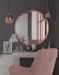 Tocadores modernos para habitaciones juveniles 2019 – 2020 - Spiteful Tutorial and Ideas Cute Room Decor, Wall Decor, Aesthetic Rooms, Beauty Room, Dream Rooms, House Rooms, Home Interior Design, Luxury Bedroom Design, Girl Bedroom Designs