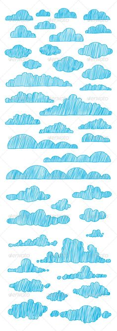 Buy Hand-Drawn Clouds Collection by Mangustas on GraphicRiver. Collection of 40 different hand-drawn vector clouds. You can easily recolor them as you need. These hand-drawn clouds. House Illustration, Cloud Illustration, Learn To Sketch, Cloud Drawing, Cloud Icon, Nature Sketch, Cloud Vector, Visual Diary, Vector Hand