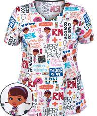 For Mom at Party: Cherokee Tooniforms Doc McStuffins Print Scrub Top Disney Scrub Tops, Disney Scrubs, Pediatric Scrubs, Pediatric Nursing, Cna Nurse, Nurse Life, Nurses, Cherokee, Cute Scrubs