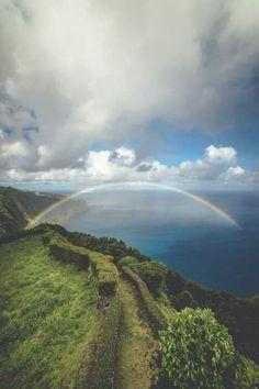 Magic rainbow at sea
