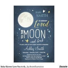 Baby Shower Love You to the Moon and Back Blue Boy Card Planning a baby shower? Check out this! Check out these invitations! Star Baby Showers, Baby Shower Fun, Fun Baby, Baby Baby, Shower Party, Girl Shower, Shower Gifts, Baby Birth, Bridal Shower