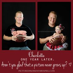 newborn girl posed on football with her daddy