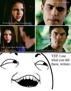 There comes a point when the Love Triangle makes you angry. The writers shouldn't put Stefan and Damon through this. Ugh. -_- Elena needs to choose already.