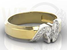Pierścionek z białego i żółtego złota z diamentami / Ring made from white and yellow gold with a diamonds / 2347 PLN #jewellery #jewelry #gold #ring