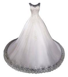 Lovelybride Luxury Cap Sleeve Beaded Ball Gown Wedding Dress with Long Train
