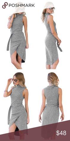087b571c7c Sleeveless dress faux wrap skirt High Neck sleeveless dress with faux wrap  skirt