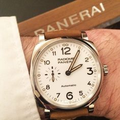 The new @paneraiofficial Radiomir 1940 3 Days Automatic Acciaio (Ref. PAM00655), the first in that collection to feature a white dial — a rarity in the Panerai portfolio overall.  More @ http://www.watchtime.com/wristwatch-industry-news/watches/sihh-2016-panerai-radiomir-1940-3-days-automatic-acciaio-42mm/ #panerai #watchtime #menswatches #watchnerd #SIHH2016