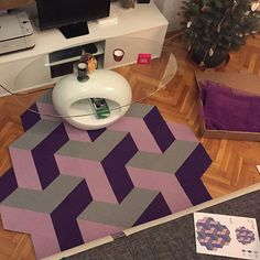 SPACE 3D puzzle rug by caraWonga    diy kit : made by you!  recycled material  sustainable manufacturing  handmade