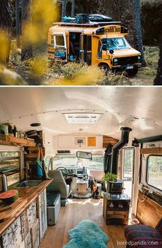 Van Life Discover 30 Of The Most Epic Bus And Van Conversions Complete with ovens closets beds and fold-out desks these converted mobile dwellings may inspire you to Marie Kondo your life and take a journey of your own. School Bus Tiny House, Kombi Home, Bus Living, Camper Van Conversion Diy, School Bus Conversion, Van Conversion Interior, Conversion Van Update, Vw Conversions, Camper Life