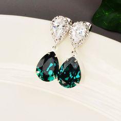 Emerald Green Earrings  Swarovski Crystal by MyDistinctDesigns