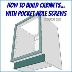 DIY Project Plan: How to Build Cabinets with Pocket Hole Screws via Pendle Pendle Powell {Sawdust Girl} Kreg Jig Projects, Diy Projects Plans, Diy Furniture Projects, Wood Projects, Ikea Furniture, Building Kitchen Cabinets, Built In Cabinets, Diy Cabinets, Garage Cabinets