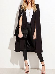 Shop Black Collarless Open Front Longline Cape from choies.com .Free shipping Worldwide.$41.9