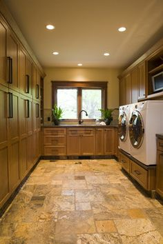 traditional laundry room by Shane D. Inman not so much the style. but love all the cabinets great for family closet! Family Room Design, Home, Small Room Bedroom, Laundry Room, Pantry Room, Room Layout, House, Family Closet, Pantry Laundry Room