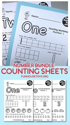 Counting Worksheets to learn Numbers and Counting for Preschool Our Numbers Bundle is a great way to start teaching your child about numbers. We included flashcards, number worksheet and counting practice. Learning Numbers Preschool, Homeschool Preschool Curriculum, Teaching Numbers, Numbers Kindergarten, Preschool Writing, Teaching Letters, Preschool Lesson Plans, Preschool Printables, Free Kindergarten Worksheets