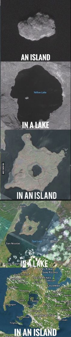 Island-ception ---- I don't know why this is funny to me? Funny Cute, The Funny, Weird Facts, Fun Facts, Video Hilarante, Dankest Memes, Funny Memes, Funny Pins, Caricatures
