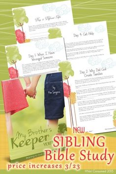 Tired of those nasty sibling squabbles? Wishing that they could see the value of this beautiful relationship? You're not alone. This brand new study was written for parents like you. Disciple your children as they learn how God wants them to love their siblings.
