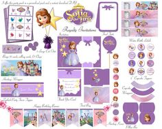 Sofia The First Birthday Party Deluxe Package Kid Party Princess  Party Free Bingo Game Instant Download DIY on Etsy, $5.00