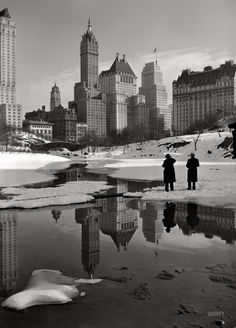 NYC. Vintage winter view of Central Park south-east corner.