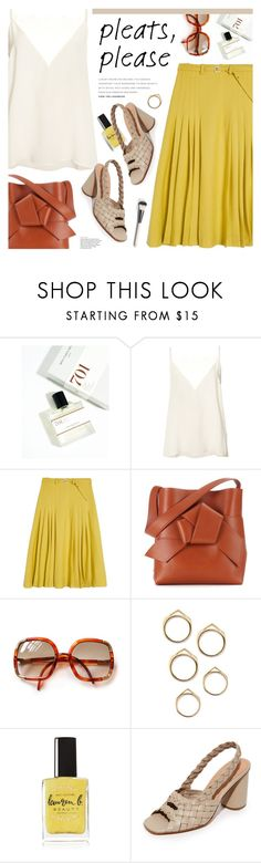 """""""give me pleats, please!"""" by jesuisunlapin ❤ liked on Polyvore featuring Anine Bing, Maryam Nassir Zadeh, Acne Studios, Lauren B. Beauty, Rachel Comey, Chantecaille, vintage, bows, pleatedskirts and cami"""