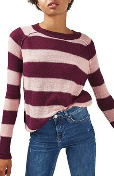 Free shipping and returns on Topshop Gauzy Stripe Sweater at Nordstrom.com. Fuzzy mohair and warm wool enhance a fine garter-knit sweater in bold eye-catching rugby stripes. The sporty design is finished with snug ribbing and exposed raglan seams.