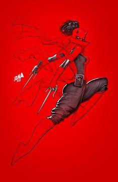 Daredevil #29 variant cover - Elektra by David Nakayama * Costume Rouge, Daredevil Elektra, Sara C, Elektra Natchios, Bd Art, Comics Illustration, Hq Dc, Marvel Women, Hogwarts Mystery
