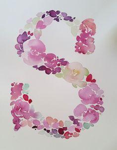 Watercolour Floral Monogram Letter S