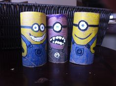 art and craft for kids - despicable me - cut school paper towel tubes on bandsaw :)