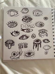 Notebook Sketches, Art Sketches, Cartoon Drawings, Easy Drawings, Eyeball Drawing, Trash Art, Doodle Art Journals, Happy Pills, Art Sketchbook