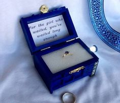 Doctor Who ring box and proposal message.