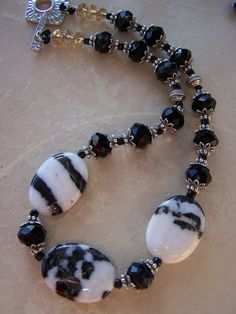 REMINDER:  USE MOSAIC RUBY, EMERALD, ETC. OVAL STONES.....................................Zebra Jasper gemstone necklace. $58.00, via Etsy.