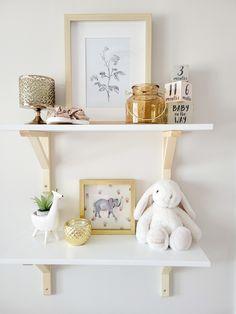 Bunny Themed Baby Girl Nursery Nursery Shelves, Wall Shelves, Changing Dresser, Closet Door Handles, Somebunny Loves You, Wooden Cribs, Ikea Decor, Project Nursery, Nursery Ideas