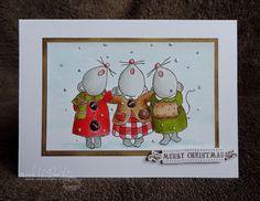 Three singing mice - bright card