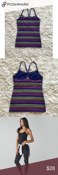 Lululemon Power Y Striped Tank In amazing condition. No pilling, no flaws. Only worn a few times because I am a true size 4 in Lulu so this ran slightly too big for me. Has option to add padding if desired. Model pics are the exact fit of the tank, just different color 😊 lululemon athletica Tops Tank Tops