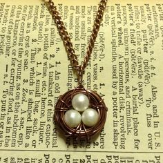 HANDMADE Copper Bird's Nest Necklace with Pearl Eggs ($15)