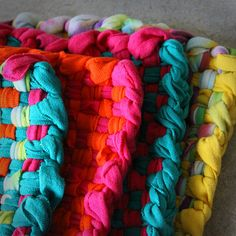Crafty blog I found... Remember making potholders on those tiny plastic loom frames with the loops?? .. Here's a grown up version.