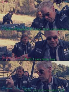 """Sons Of Anarchy, S01E01, Clay & Jax. """"It ain't easy being king."""""""