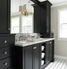 The Sky is the Limit - bathrooms - Benjamin Moore - Natural Linen - Restoration Hardware Nolan Double Sconce, greige, walls, ebony, black, double bathroom vanity, cabinet, marble, countertop, marble, tiles, black, marble, inset, tiles, floor,