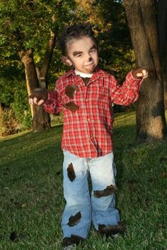 My fav costume I have ever made! Nic as a wolf man or werewolf, whatever you want to call it, lol. DIY Kid Costume