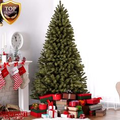 Green Artificial Christmas Tree 7.5ft w/ Stand Spruce Hinged Holiday Xmas New #GreenArtificialChristmasTree