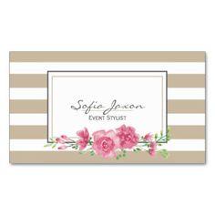 Beige floral 02 de la tarjeta de visita del