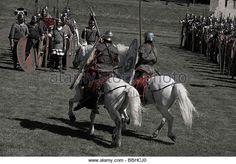 roman training with cavalry - Stock Image