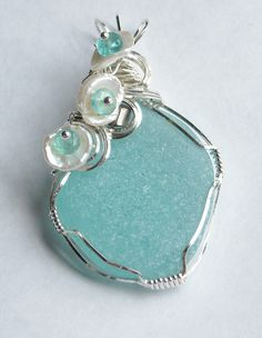 Summer Sea Glass Necklace Pendant  Beach Jewelry  in Sterling Silver.