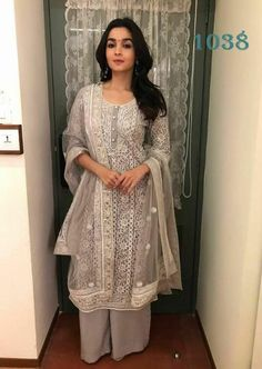 Excited to share this item from my shop: VeroniQ Trends-Bollywood Star Alia Bhatt Style Kurti Palazzo Set in Grey Color with Self Embroidered Kurti-Casual Wear,Party Wear,Wedding Kurta Designs, Kurti Designs Party Wear, Pakistani Dresses, Indian Dresses, Indian Outfits, Pakistani Suits, Indian Clothes, Punjabi Suits, Indian Attire