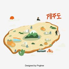 Isla Jeju, Landscape Clipart, Korea Map, Map Icons, Island Map, Jeju Island, Little Island, Simple Illustration, Map Design