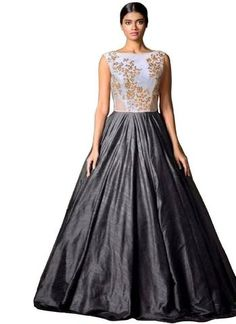 Fabboom New White & Gray Colour Floor Touch Semi Stitched gray color gown design - Gray Things Buy Gowns Online, Wedding Gowns Online, Best Wedding Dresses, Bridal Dresses, Sarees Online, Gown Party Wear, Short Gowns, Satin Gown, Types Of Dresses
