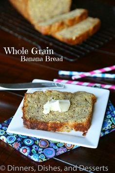 Whole Grain Banana Bread - Dinners, Dishes, and Desserts Just Desserts, Dessert Recipes, Blueberry Banana Bread, Yummy Food, Tasty, Dessert Bread, Banana Bread Recipes, Healthy Treats, Yummy Treats