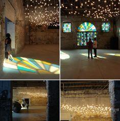 hanging lights, hang light, contemporari light, spencer finch, light roof, janey mac